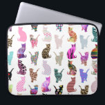 "Girly Whimsical Cats aztec floral stripes pattern Laptop Sleeve<br><div class=""desc"">Girly Whimsical Cats aztec floral stripes pattern. A vintage and retro girly floral pattern design with whimsical and cute cats animals, with pink, blue, red, yellow, teal blue, black, purple, gray, white, turquoise blue, navy blue pastel colors, lots of different floral colorful retro design with roses, lilies, tulips, sunflowers, lotus...</div>"