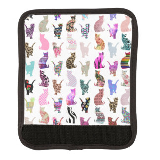Girly Whimsical Cats aztec floral stripes pattern Luggage Handle Wrap