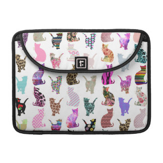 Girly Whimsical Cats aztec floral stripes pattern MacBook Pro Sleeve