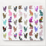 "Girly Whimsical Cats aztec floral stripes pattern Mouse Pad<br><div class=""desc"">Girly Whimsical Cats aztec floral stripes pattern. A vintage and retro girly floral pattern design with whimsical and cute cats animals, with pink, blue, red, yellow, teal blue, black, purple, gray, white, turquoise blue, navy blue pastel colors, lots of different floral colorful retro design with roses, lilies, tulips, sunflowers, lotus...</div>"