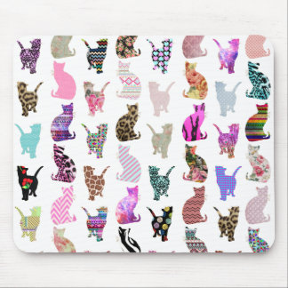 Girly Whimsical Cats aztec floral stripes pattern Mouse Pad