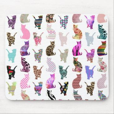Aztec Themed Girly Whimsical Cats aztec floral stripes pattern Mouse Pad