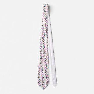 Girly Whimsical Cats aztec floral stripes pattern Neck Tie