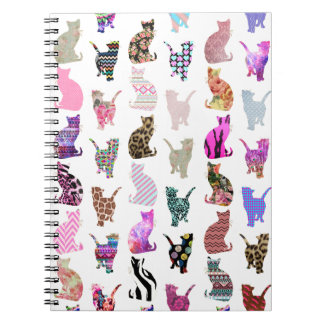 Girly Whimsical Cats aztec floral stripes pattern Notebook