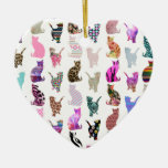 Girly Whimsical Cats aztec floral stripes pattern Double-Sided Heart Ceramic Christmas Ornament