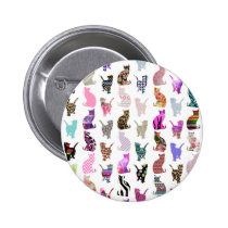 Girly Whimsical Cats aztec floral stripes pattern Pinback Button
