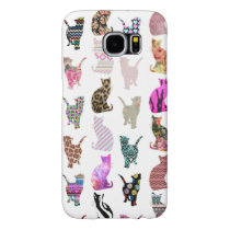 Girly Whimsical Cats aztec floral stripes pattern Samsung Galaxy S6 Case