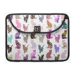 Girly Whimsical Cats aztec floral stripes pattern Sleeves For MacBooks