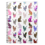 Girly Whimsical Cats aztec floral stripes pattern Spiral Notebooks