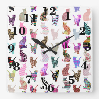 Girly Whimsical Cats aztec floral stripes pattern Square Wall Clock