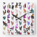 Girly Whimsical Cats aztec floral stripes pattern Square Wallclock