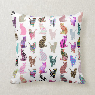 Girly Whimsical Cats aztec floral stripes pattern Throw Pillow