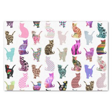 Aztec Themed Girly Whimsical Cats aztec floral stripes pattern Tissue Paper