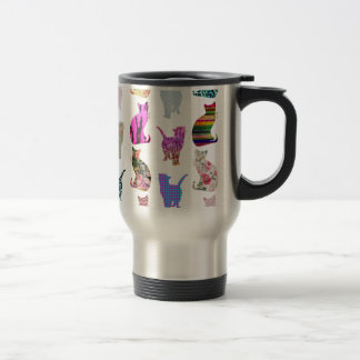 Girly Whimsical Cats aztec floral stripes pattern Travel Mug