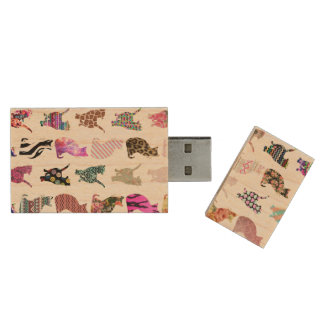 Girly Whimsical Cats aztec floral stripes pattern Wood Flash Drive