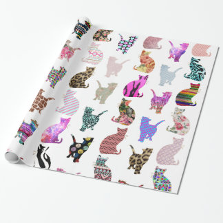 Girly Whimsical Cats aztec floral stripes pattern Wrapping Paper