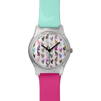 Girly Whimsical Cats aztec floral stripes pattern Wrist Watch