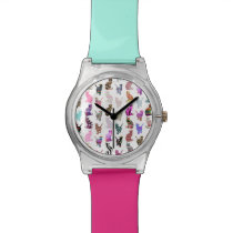 Girly Whimsical Cats aztec floral stripes pattern Wristwatch