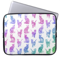 Girly Whimsical Cats Rainbow Glitter pattern Computer Sleeve