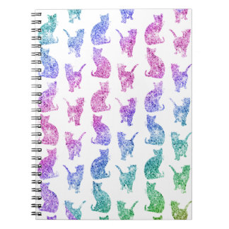 Girly Whimsical Cats Rainbow Glitter pattern Spiral Notebook