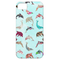 Girly Whimsical Dolphins Floral Pattern on Teal iPhone SE/5/5s Case