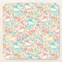 Girly Whimsical Retro Floral Elephants Coasters