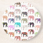 Girly Whimsical Retro Floral Elephants Pattern Beverage Coasters
