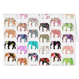 Girly Whimsical Retro Floral Elephants Pattern Greeting Cards