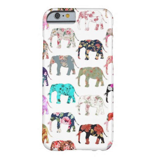 Girly Whimsical Retro Floral Elephants Pattern iPhone 6 Case