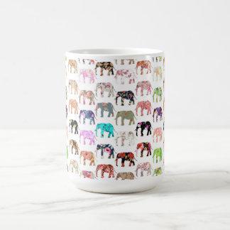 Girly Whimsical Retro Floral Elephants Pattern Classic White Coffee Mug