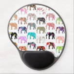 "Girly Whimsical Retro Floral Elephants Pattern Gel Mouse Pad<br><div class=""desc"">Girly Whimsical Retro Floral Elephants Pattern. A vintage and retro girly floral pattern design with whimsical and cute wild elephants animals, with pink, blue, red, yellow, teal blue, black, purple, gray, white, turquoise blue, navy blue pastel colors, lots of different floral colorful retro design with roses, lilies, tulips, sunflowers, lotus...</div>"