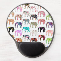 Girly Whimsical Retro Floral Elephants Pattern Gel Mouse Pad