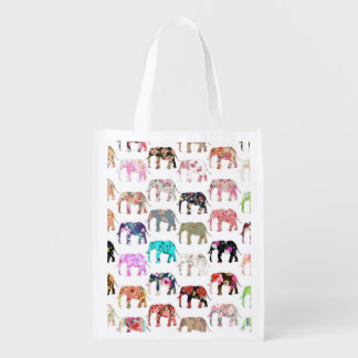 Girly Whimsical Retro Floral Elephants Pattern Grocery Bags