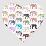 Girly Whimsical Retro Floral Elephants Pattern Heart Sticker