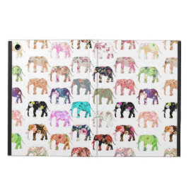 Girly Whimsical Retro Floral Elephants Pattern iPad Air Covers