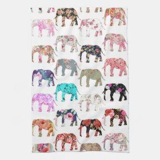 Girly Whimsical Retro Floral Elephants Pattern Kitchen Towel