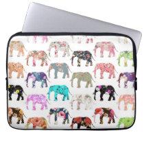 Girly Whimsical Retro Floral Elephants Pattern Laptop Sleeve