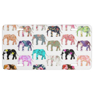 Girly Whimsical Retro Floral Elephants Pattern License Plate