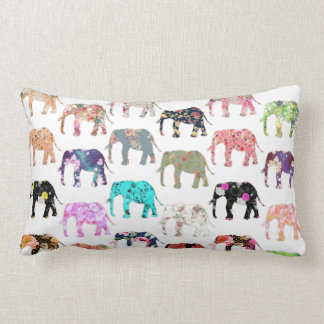 Girly Whimsical Retro Floral Elephants Pattern Lumbar Pillow