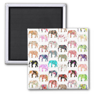 Girly Whimsical Retro Floral Elephants Pattern Magnet