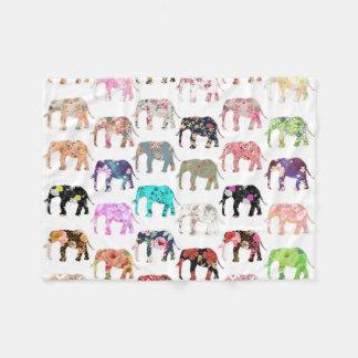 Girly Whimsical Retro Floral Elephants Pattern Fleece Blanket