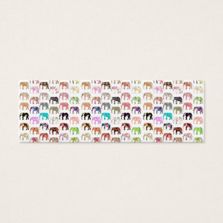 Girly Whimsical Retro Floral Elephants Pattern Mini Business Card