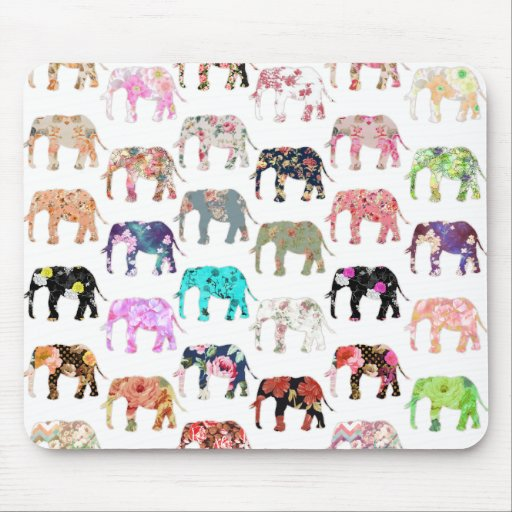 Girly Whimsical Retro Floral Elephants Pattern Mouse Pads