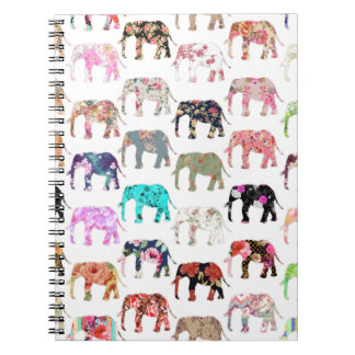 Girly Whimsical Retro Floral Elephants Pattern Notebook