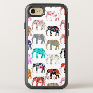 Girly whimsical retro floral elephants pattern OtterBox symmetry iPhone 8/7 case