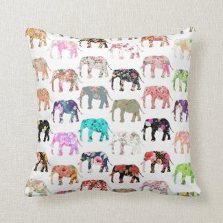 Girly Whimsical Retro Floral Elephants Pattern Pillow