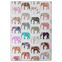 Girly Whimsical Retro Floral Elephants Pattern Post-it Notes