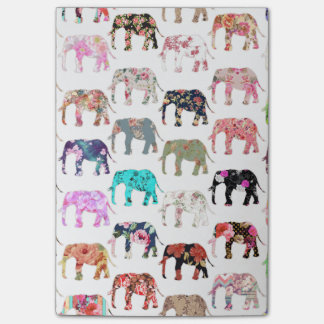Girly Whimsical Retro Floral Elephants Pattern Post-it® Notes