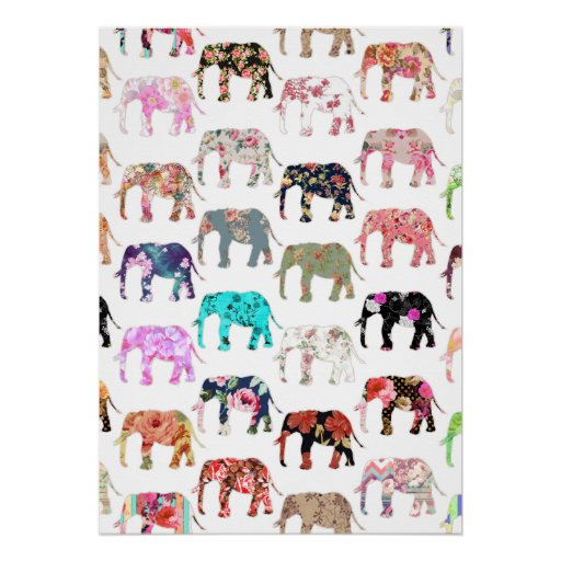 Girly Whimsical Retro Floral Elephants Pattern Print