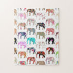 Girly Whimsical Retro Floral Elephants Pattern Jigsaw Puzzle